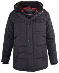 D555 Lonsdale Parka Style Jacket With Embroidery Patch On Sleeve Black
