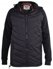D555 Thorpe Hooded Quilted Jacket With Fleece Sleeves And Removable Fleece Hood