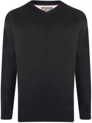 Kam Jeans V-neck Knitted Jumper Black