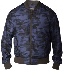 D555 CAMO Lined Camouflage Bomber Jacket Navy