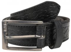 Kam Jeans 919 Weave Pattern Leather Belt Black