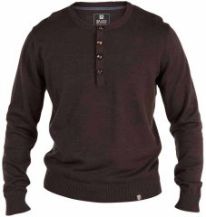 D555 Grandad Knitted Sweater Brown