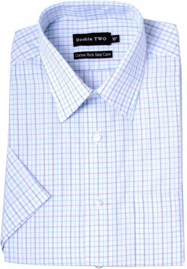 Double TWO Formal Shirt Aqua - Kauluspaidat - Miesten isot paidat 2XL – 8XL