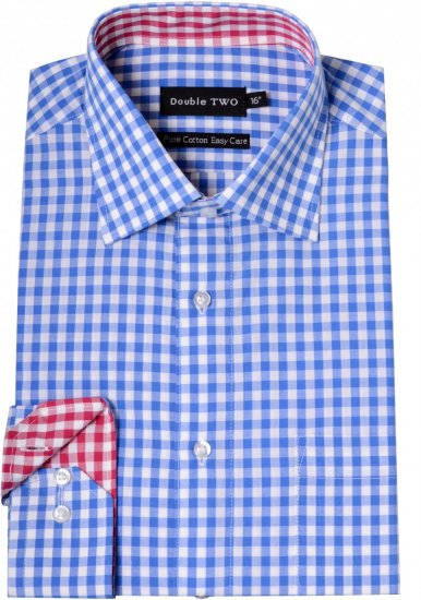 Double TWO Formal Shirt 3577 Blue L/S - Paidat - Miesten isot paidat 2XL – 8XL
