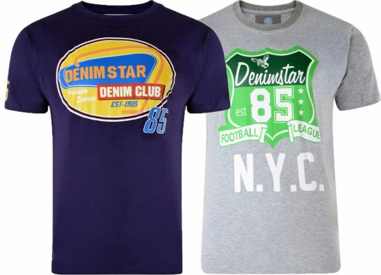 Kam Jeans Star 2-pack T-shirt Grey/Purple - T-paidat - Isot T-paidat 2XL – 8XL