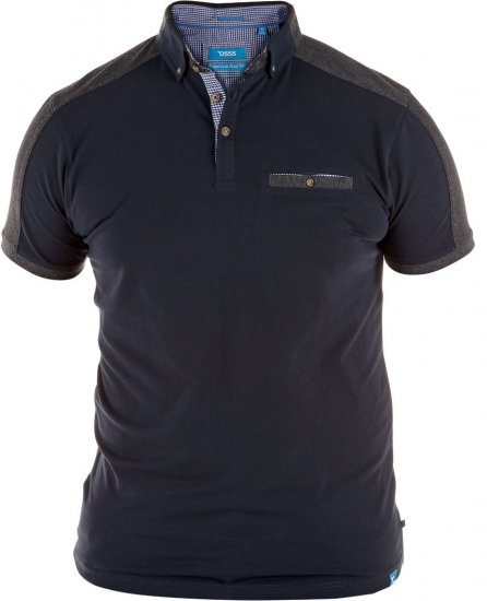 D555 Jones Polo Navy/Grey - Pikeepaidat - Miesten isot pikeet 2XL – 8XL
