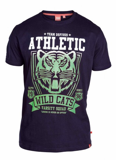 "D555 STACY ""Wild Cats"" T-Shirt Navy - T-paidat - Isot T-paidat 2XL – 8XL"
