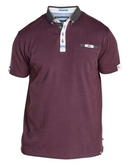 D555 Edger Stretch Cotton Polo Dark Burgundy - Pikeet - Miesten isot pikeet 2XL – 8XL