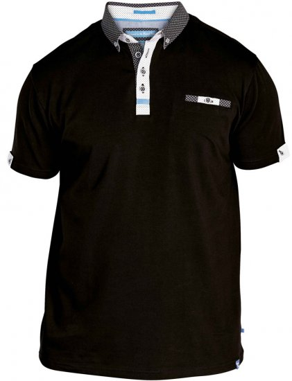 D555 Edger Stretch Cotton Polo Black - Pikeepaidat - Miesten isot pikeet 2XL – 8XL