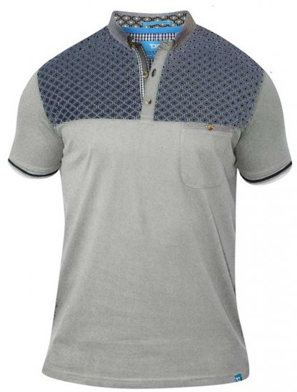 D555 MAURICE Top Paneled Short Sleeve Polo Grey - Pikeet - Miesten isot pikeet 2XL – 8XL