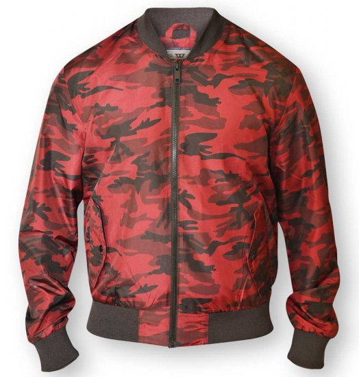 D555 CAMO Lined Camouflage Bomber Jacket Red - Takit - Takit, isot koot – 2XL – 8XL