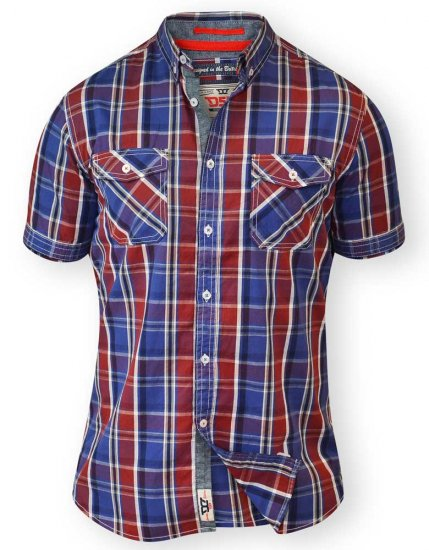 D555 ELIAS Short Sleeve Blue & Red Check Shirt - Kauluspaidat - Miesten isot paidat 2XL – 8XL