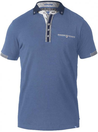 D555 SWANN Short Sleeve Stretch Polo Denim Melange - Pikeet - Miesten isot pikeet 2XL – 8XL