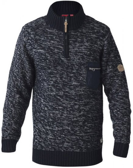 D555 REMINGTON Sweater With Woven Zipper Chest Pocket Navy/Grey - Hupparit ja Collegepaidat - Miesten isot hupparit mitoissa 2XL – 8XL
