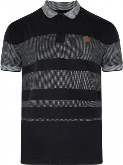 Kam Jeans 5222 Stripe and Dot Polo Black - Pikeepaidat - Miesten isot pikeet 2XL – 8XL