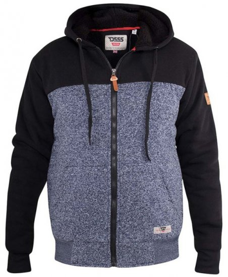 D555 Allen Zip Through Hoody With Sherpa Lining - Hupparit ja Collegepaidat - Miesten isot hupparit mitoissa 2XL – 8XL