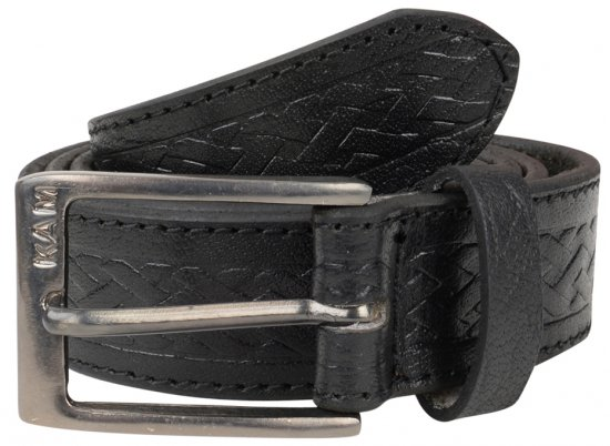 Kam Jeans 919 Weave Pattern Leather Belt Black - Vyöt - Pitkät vyöt W40-W70/2XL-8XL