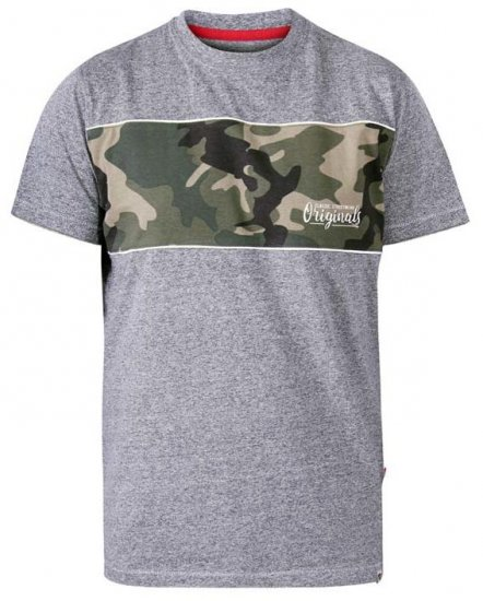 D555 Major Camo Print Crew Neck T-Shirt Grey - T-paidat - Isot T-paidat 2XL – 8XL